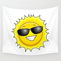 sunglasses Wall Tapestries featuring sunglasses on by Li-Bro