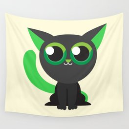 Green Kitty Cat Cute Kids Design Wall Tapestry