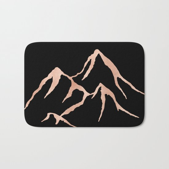 MOUNTAINS Rose Gold on Black Bath Mat