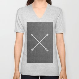 gray crossed arrows Unisex V-Neck