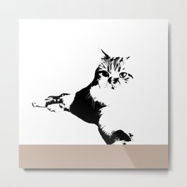 Black White Cat Metal Print