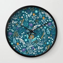 Flower circle pattern, blue Wall Clock
