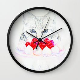 My sweet cat and my cake. Wall Clock