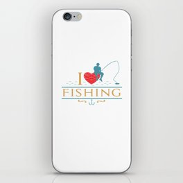 I Love Fishing Angling Fishermen Saying Heart Gift iPhone Skin