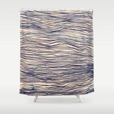 Writer's Block - wavy indigo / navy lines Shower Curtain