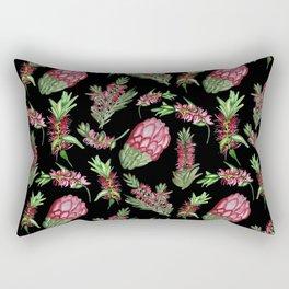 Watercolour Australian Native Floral Print - Bottlebrush and Protea Rectangular Pillow