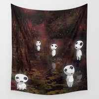 princess mononoke Wall Tapestries featuring Princess Mononoke - The Kodama by pkarnold + The Cult Print Shop