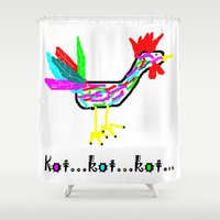 cock Shower Curtains featuring Crazy Cock by totemxtotem