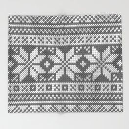 Winter knitted pattern 1 Throw Blanket