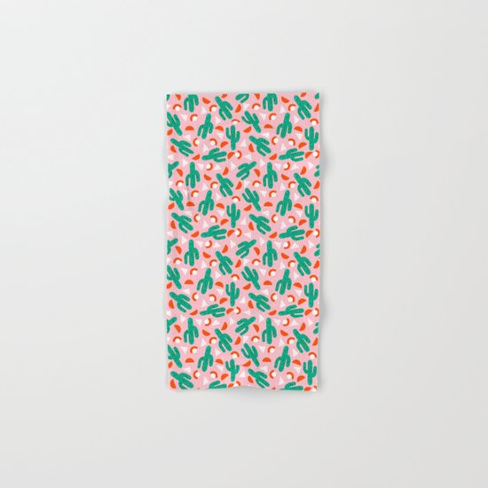 Red Hot - cactus southwest desert palm springs retro neon throwback 1980s style minimal plants Hand & Bath Towel