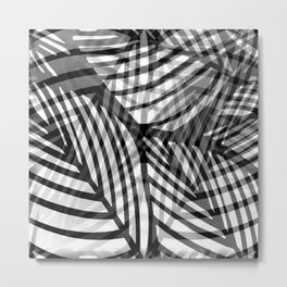 Layered Artistic Black White And Grey Leaf Vein Abstract Metal Print