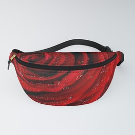 Red rose with sparkling droplets - Beautiful elegant Roses Fanny Pack