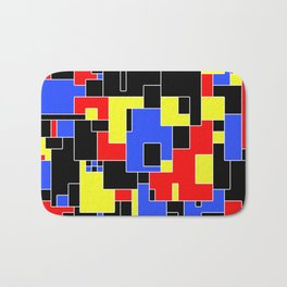 Primary Plans - Abstract, geometric map in primary colours Bath Mat