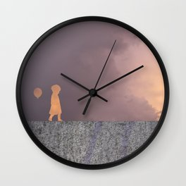 Sunset with girl walking on a wall followed by a balloon Wall Clock