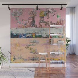 Dogbane Pink Abstract Painting Print Wall Mural