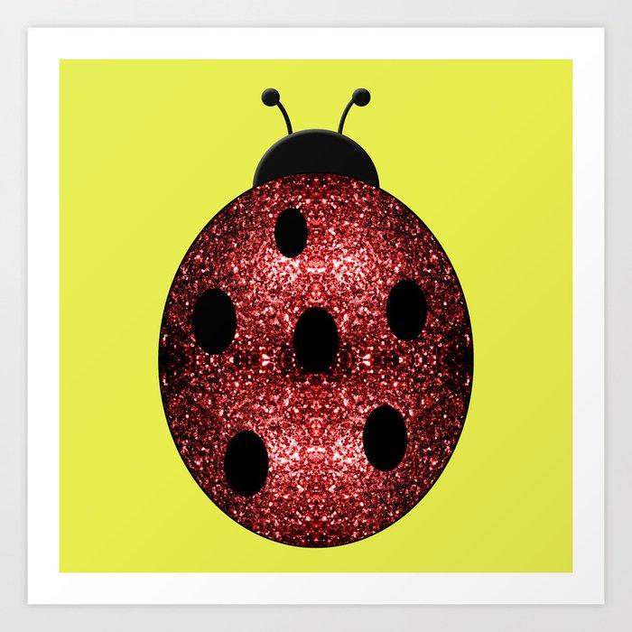 Beautiful Sparkling red sparkles Ladybird Ladybug Art Print