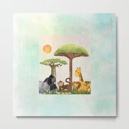 Watercolor Safari Animals Under Exotic Baobab Tree Metal Print