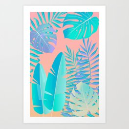 Tropics ( monstera and banana leaf pattern ) Art Print