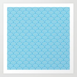 Blue Concentric Circle Pattern Art Print