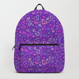 Hearts Paper Collage Valentines Day Pattern Purple Violet Backpack