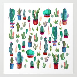 Watercolor Cactus Pattern Art Print
