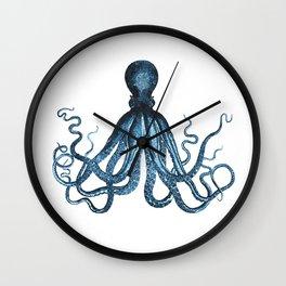 Octopus coastal ocean blue watercolor Wall Clock