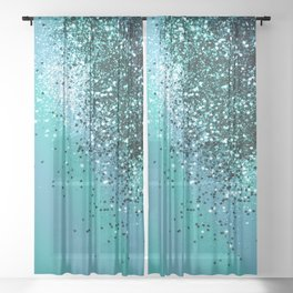 Aqua Blue OCEAN Glitter #1 #shiny #decor #art #society6 Sheer Curtain