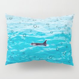 Orca Whale gliding through the water on a rainy day Pillow Sham
