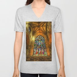 Cathedral Stained Glass Window Unisex V-Neck