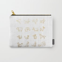 Origami Animals (gold) Carry-All Pouch