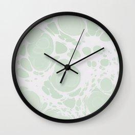 Ebru Paper Marbling Pastel Green Paint Spill Bubbles Wall Clock
