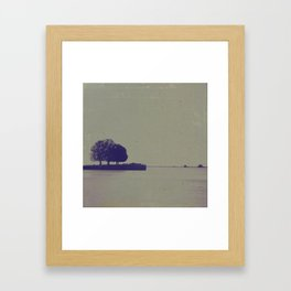 A textured potograph of the trees at the end of the pier Framed Art Print