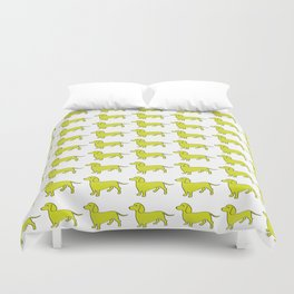Doxie Love - Lime Duvet Cover