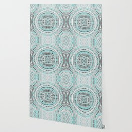 Teal & Blue Complexities - a Watercolor Tribal Pattern Wallpaper