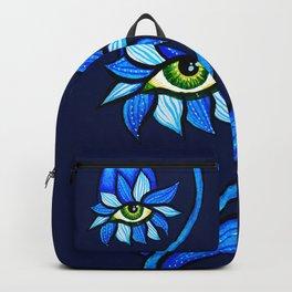 Blue Creepy Eye Flower Backpack
