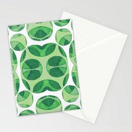 Green circle neuro web pattern Stationery Cards