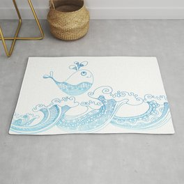 Doodle fish jumping out of the water - Maritime Sea Animal Rug