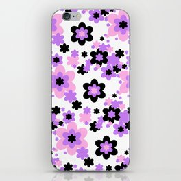 Pink Purple Black Floral iPhone Skin