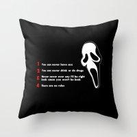 randy c Throw Pillows featuring Scream: Randy´s rules by dutyfreak