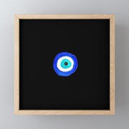 Single Evil Eye Amulet Talisman Ojo Nazar - on black Framed Mini Art Print