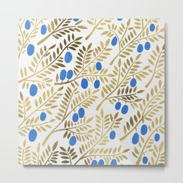 Olive Branches – Gold & Blue Metal Print