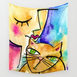 My Crazy Cat No. 3 by Kathy Morton Stanion Wall Tapestry