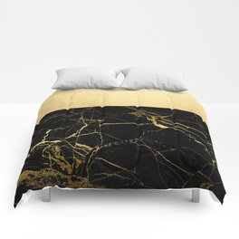 Gold and Black Marble Comforters