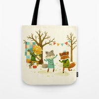 dancing Tote Bags featuring Critters: Spring Dancing by Teagan White