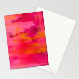 """""""Abstract brushstrokes in pastel pinks and solar orange"""" Stationery Cards"""