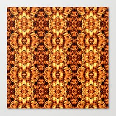 Brown Yellow  Flower Pattern Canvas Print