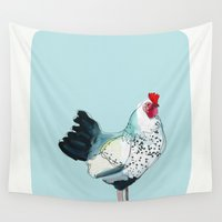 kitchen Wall Tapestries featuring Kitchen Chicken by Cathy Walters