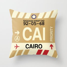 CAI Cairo • Airport Code and Vintage Baggage Tag Design Throw Pillow