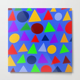 Circle and triangle variation on a design blue Metal Print
