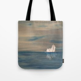 Floating Feather. Original Painting by Jodilynpaintings. Abstract Feather on Water. Tote Bag
